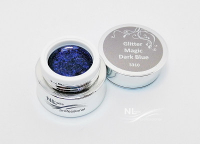 UV, LED barevný gel GLITTER MAGIC DARK BLUE